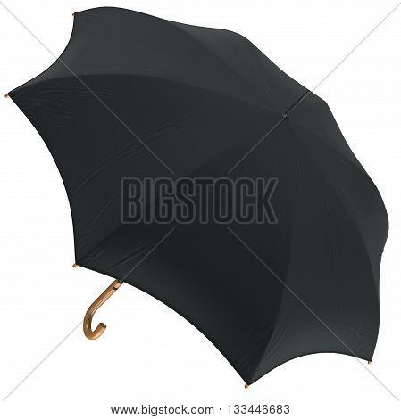Open black classic rain umbrella. 3D graphic