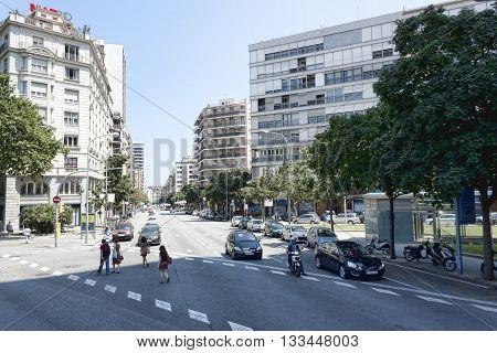 BARCELONA SPAIN - JULY 12 2013: Traffic on the streets of Barcelona