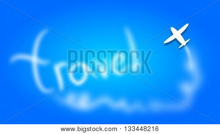 Blue background with airplane illustration and text travel