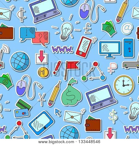 Seamless background on a theme business on the Internet and information technology the colored icons on blue background