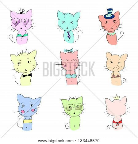 Cute cat illustration series. Funny colorful cats. Vector illustration