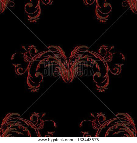 Red brown vintage seamless pattern with elements of an abstract floral ornament on black background, vector illustration