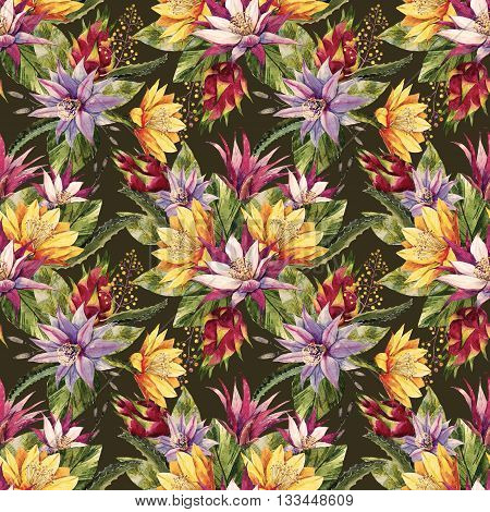 Beautiful pattern with nice watercolor tropical dragon flowers