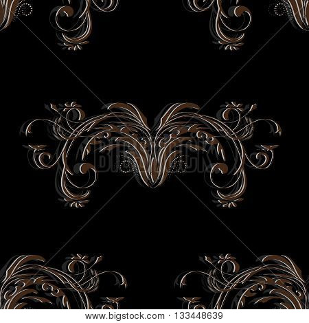 Vintage brown seamless pattern with elements of an abstract floral ornament on black background, vector illustration