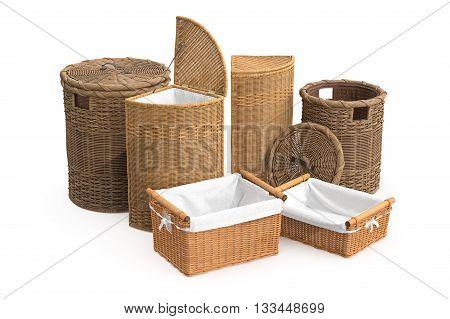 Set rattan basket on white background. 3D graphic