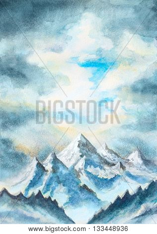 watercolor illustration with mountains and clouds landscape
