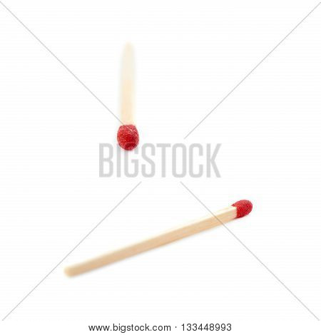 Set of Wooden unused match isolated over the white background