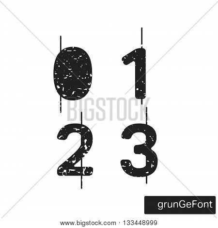 Alphabet grunge font template. Set of numbers 0 1 2 3 logo or icon. Vector illustration.