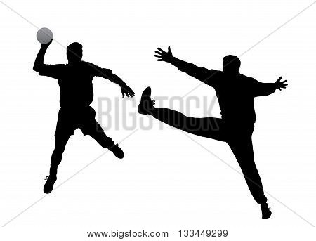 Handball player and goalkeeper. Isolated white background. EPS file available.