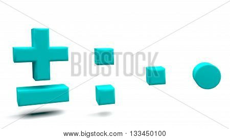 3D Rendering Of Symbols In Big Letters On A White Background.