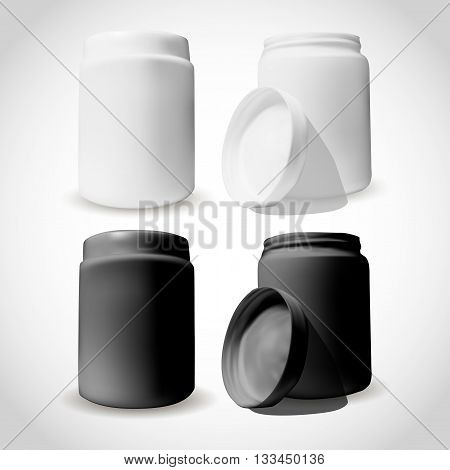 Packaging Of Cosmetics Box In White And Black Color. Open And Close. Mock-up For Beauty Design.