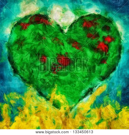 Graphic illustration of a green heart with blue and golden background