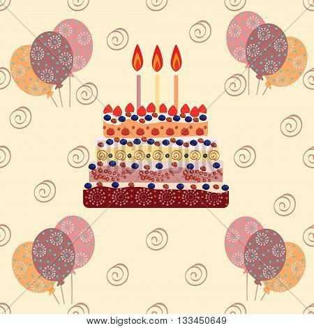 Birthday cake with three candles. Three years. A cake with candles for his birthday. Holidays and celebrations