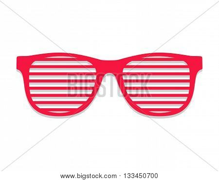 Shutter glasses. Concept of brindled or latticed sunglasses, fashionable accessory, summer youth glasses. Shutter shades sun glasses isolated on white background