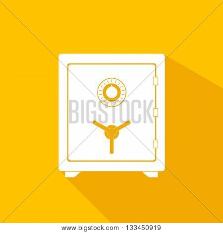 Safe vector icon in a flat style. Safe metal box money secure and safe money concept symbol. Security finance steel safe treasure storage. Closed safe isolated on a yellow background with shadow