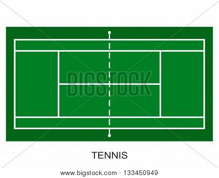 Tennis court. Field isolated on white background