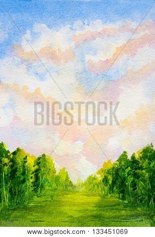 watercolor vertical landscape with sky with clouds, trees and abstract green grass