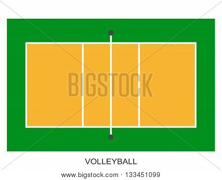 Volleyball court. Field isolated on white background