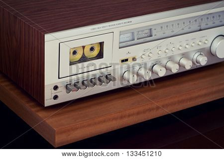 Vintage Cassette Deck Stereo Receiver Angled View Closeup
