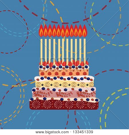 Birthday cake with eleven candles. Eleven years. A cake with candles for his birthday. Holidays and celebrations