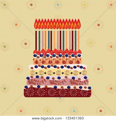 Birthday cake with fifteen candles. Fifteen years. A cake with candles for his birthday. Holidays and celebrations