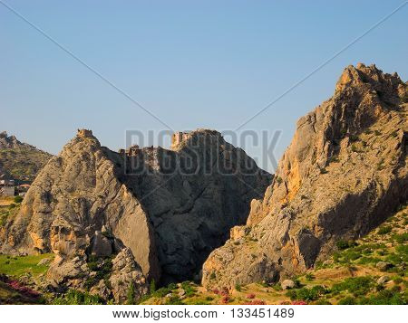 The ruins of the fortress on the top of Derick mountains in eastern Turkey.