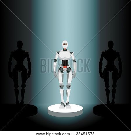 vector illustration of a robot on a pedestal in the spotlight