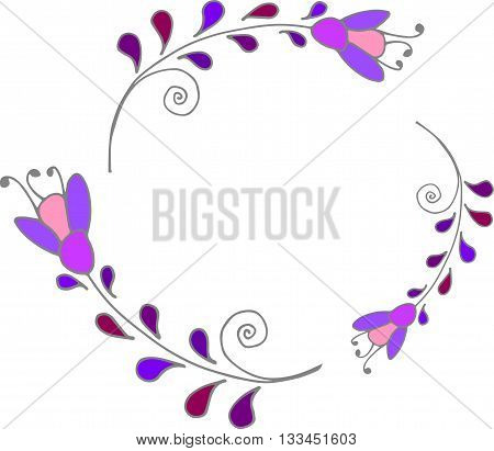 Cute floral frame colorful purple floral wreath vector clip art floral frame
