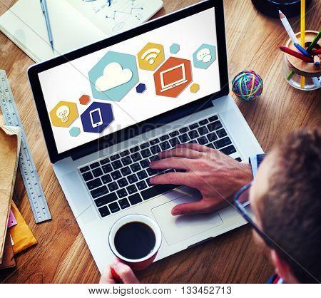 Cloud Technology Internet Online Graphic Concept