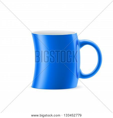 Blue curve cup of something is on white background