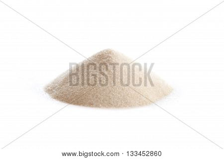 Gelatin powder on white also spelled gelatine used as a gelling agent for food pharmaceuticals photography and cosmetics.