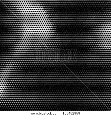 Black abstract background with black and white halftone texture, circles pattern for design concepts, banners, posters, web, presentations and prints. Vector illustration.