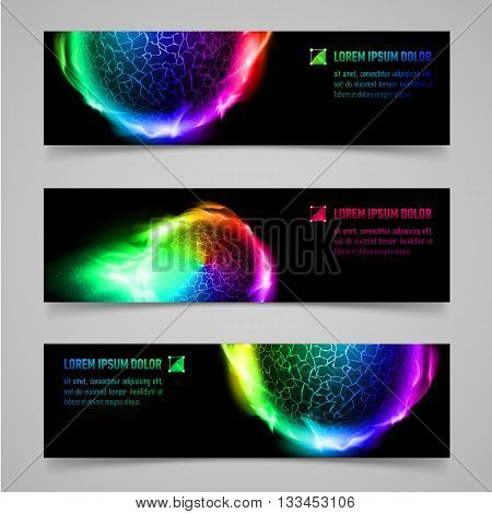 Set of multicolored banners with flaming spheres