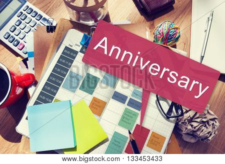 Anniversary Annual Celebration Remember Yearly Concept