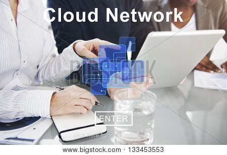 Cloud Network Digital Information Storage Concept