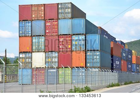 Zilina, Slovakia - June 4, 2016: Inland container terminal where cargo containers are transshipped between train and truck