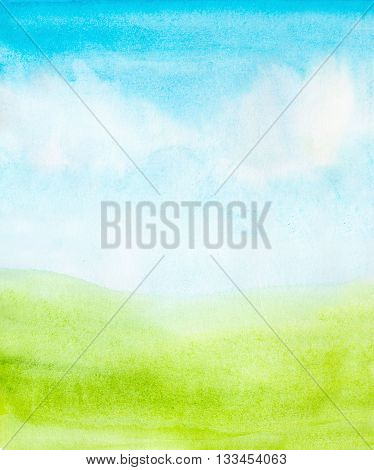 watercolor abstract sky clouds and green grass background