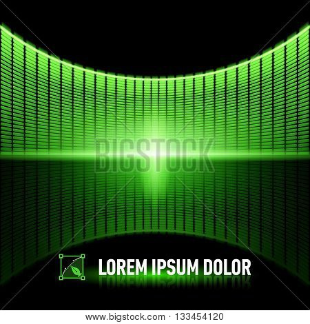 Shiny background with green digital music equalizer
