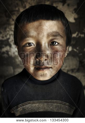 Mongolian Boy Portrait Innocent Concept