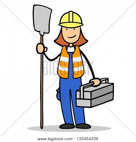 Female cartoon construction worker with hardhat and safety vest