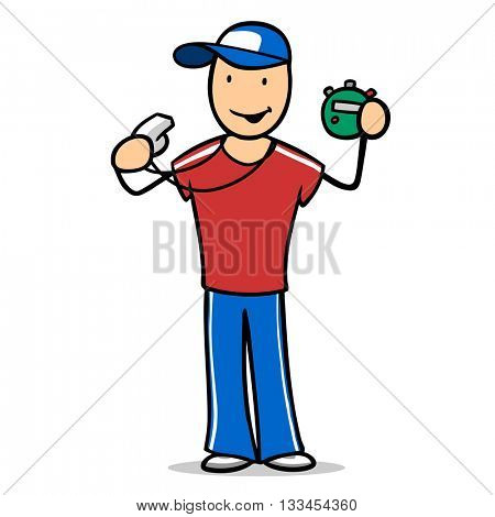 Smiling cartoon man as fitness trainer with whistle and stopwatch