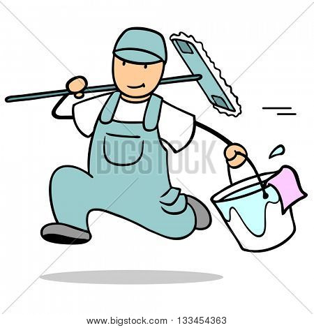 Cartoon man as cleaner running fast with bucket and tools