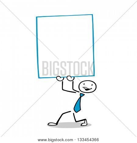 Cartoon businessman holding up an empty sign for advertising