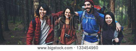 Trek Camping Friendship Adventure Backpack Concept