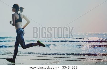 Active Runner Jogging Outdoors Concept