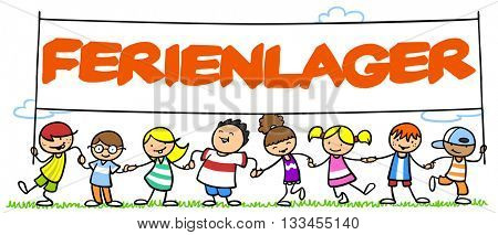 """Group of happy cartoon children holding up sign saying in German """"Ferienlager"""" (summer camp)"""