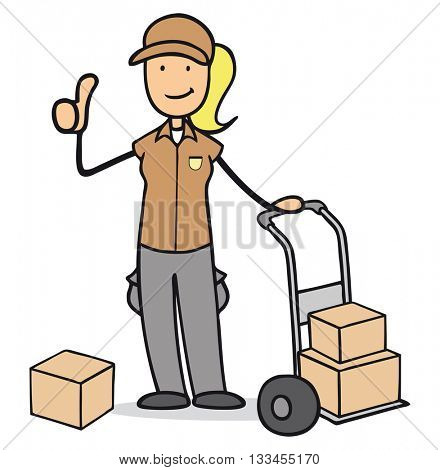 Cartoon woman as female parcel delivery service holding her thumb up
