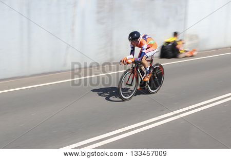 APELDOORN, NETHERLANDS-MAY 6 2016: Cyclist of pro cycling team Nippo-Vini Fantini during the Giro d'Italia prologue time trial.