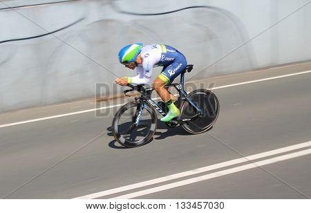 APELDOORN, NETHERLANDS-MAY 6 2016: Svein Tuft of pro cycling team Orica GreenEDGE during the Giro d'Italia prologue time trial.