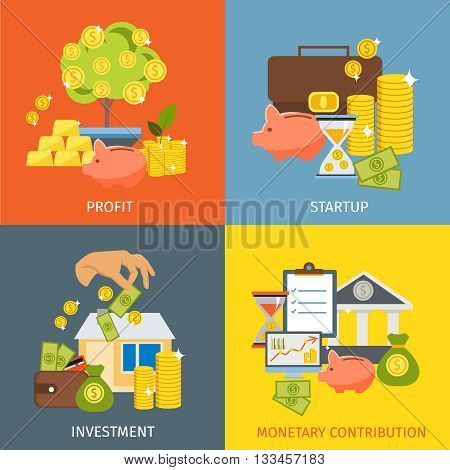 Four square flat investment icon set with descriptions of profit startup investment and monetary contribution vector illustration